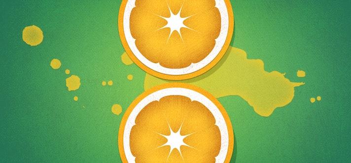 Illustration of an orange sliced in half