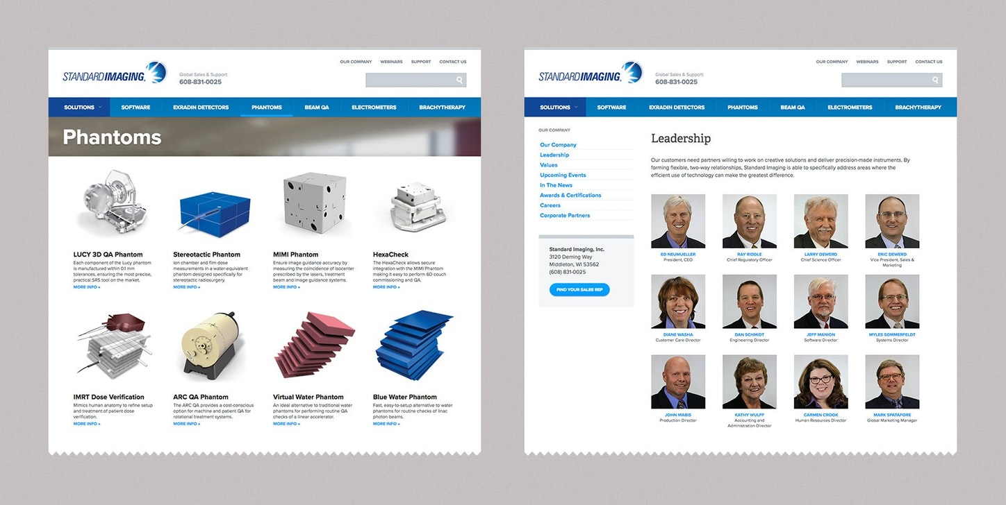 Standard Imaging Product Page Design